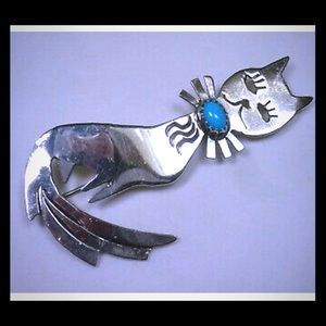 VTG Navajo Silver Turquoise Annie Capo Cat Brooch